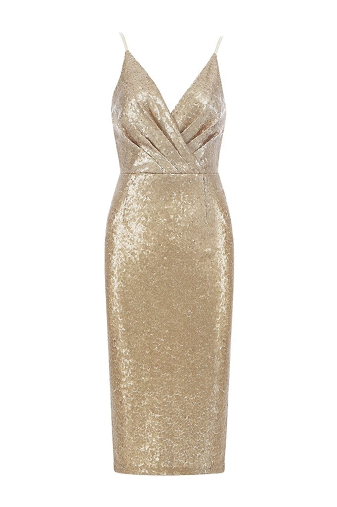 Amber Sequins Bodycon Dress- Gold