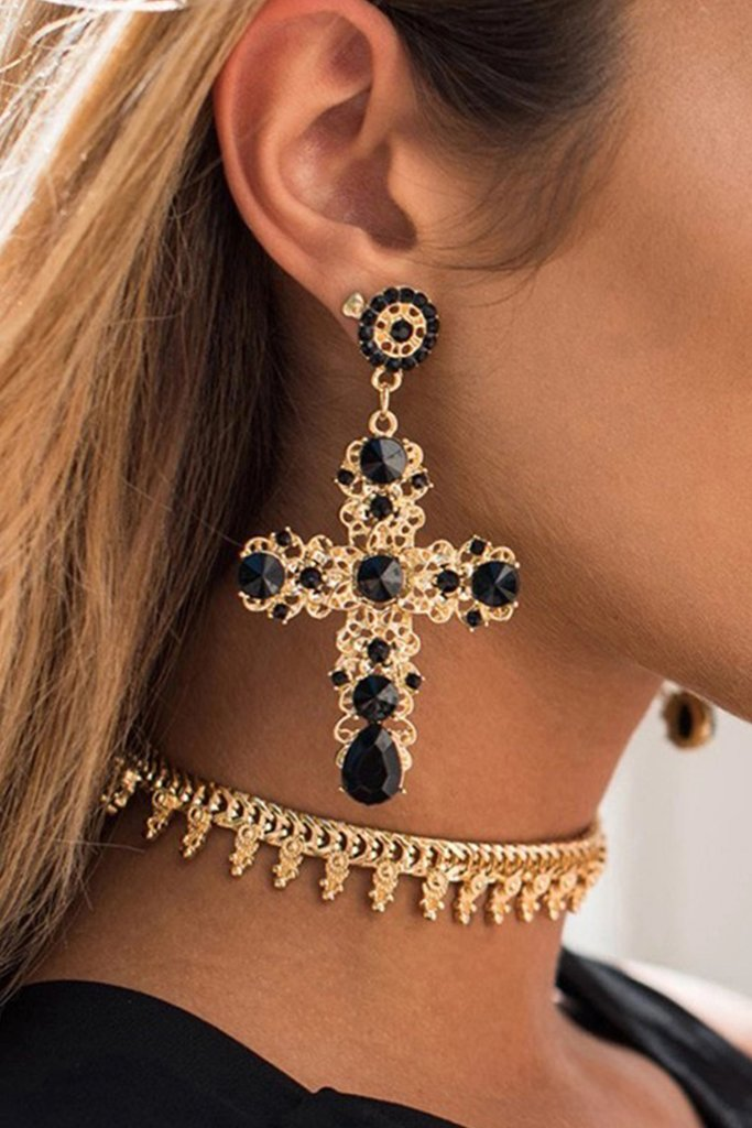 S18 Rhinestone Cross Earring Black & Gold