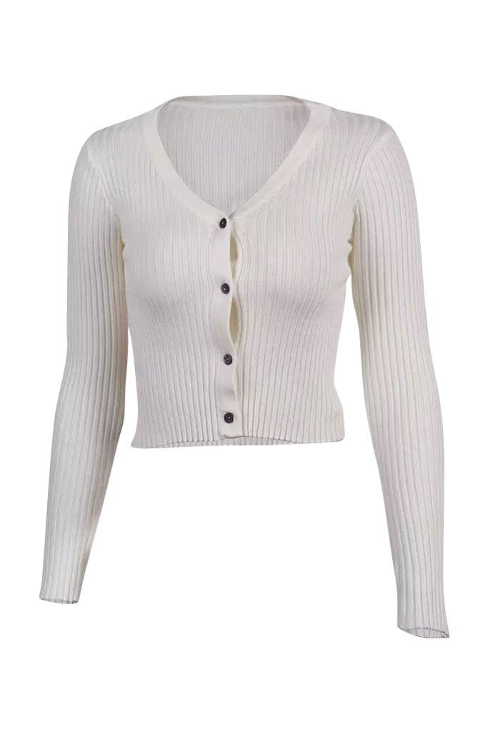 Alyssa Ribbed Long Sleeve Tee - Ivory