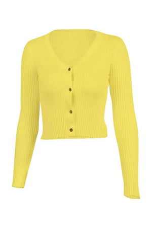 Alyssa Ribbed Long Sleeve Tee - Yellow