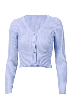 Alyssa Ribbed Long Sleeve Tee - Powder Blue