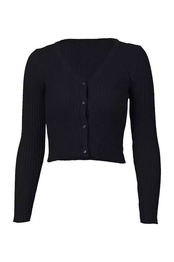 Alyssa Ribbed Long Sleeve Tee - Black