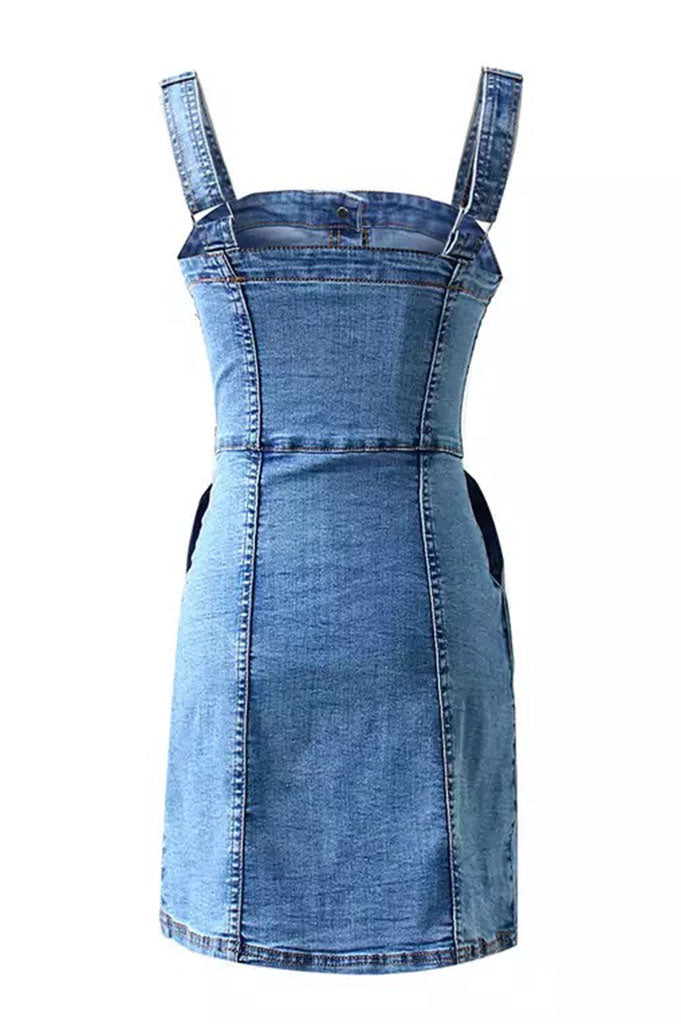 Denim Mini Dress - Blue