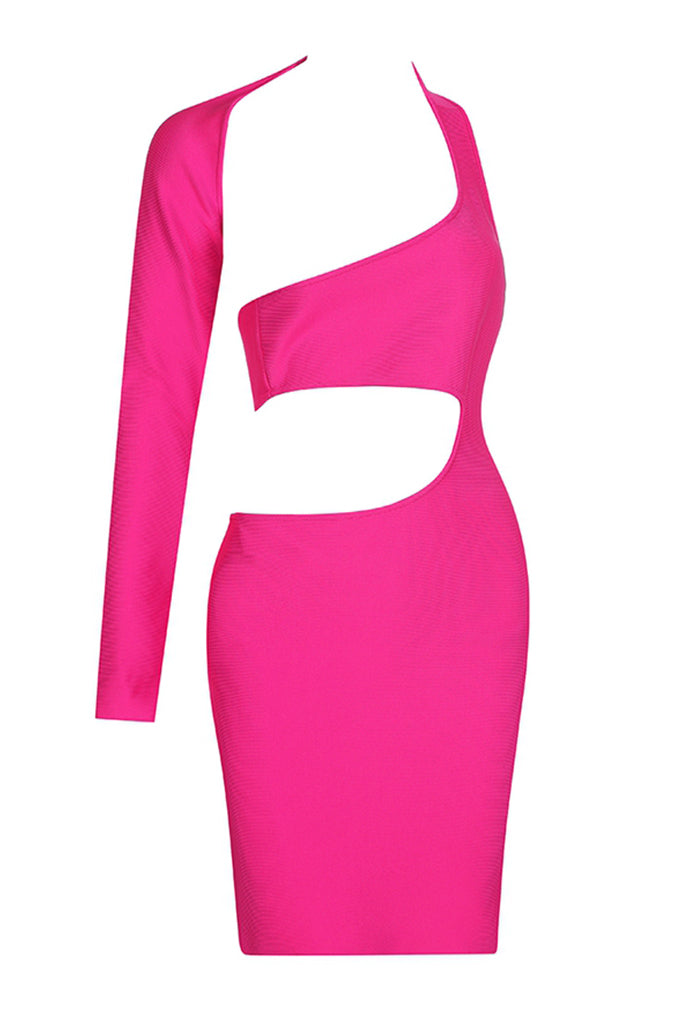Camila Hollow Out Bandage Dress- Neon Pink