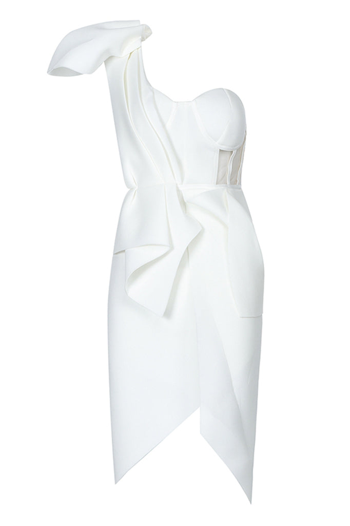 Felicity One Shoulder Dress-White