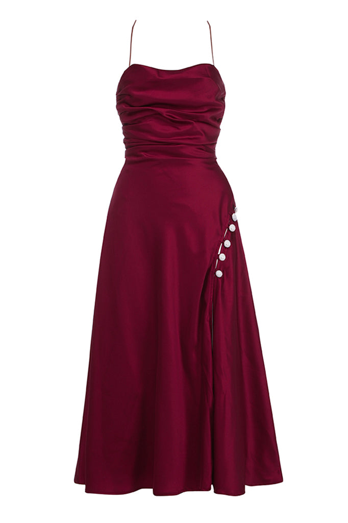Angelica Midi Dress | Wine Red