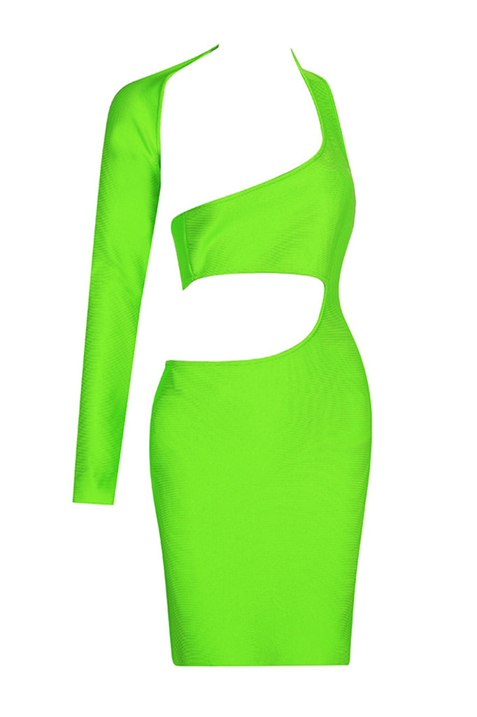 Camila Hollow Out Bandage Dress- Neon Green