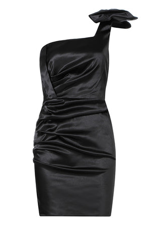 Fiona One Shoulder Bodycon Dress-Black