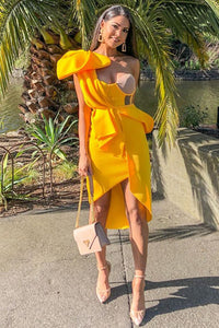Felicity One Shoulder Dress-Yellow