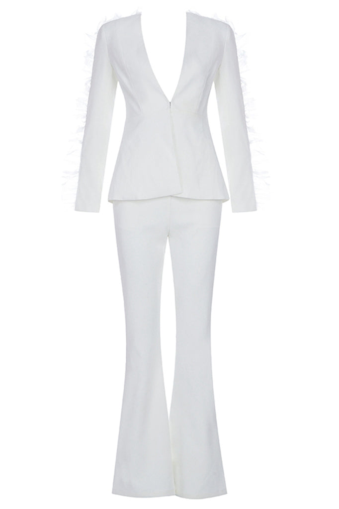 Agnes Two Pieces Sets Suit-White