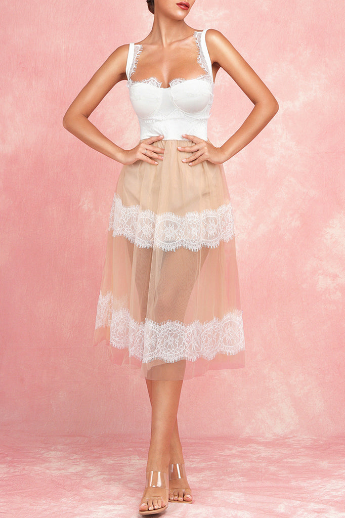BH6144 Lace Dress-White