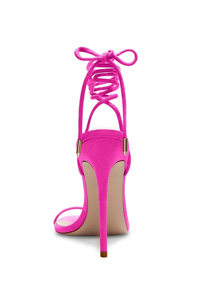 Barely There Lace Up Heel - Deep Pink