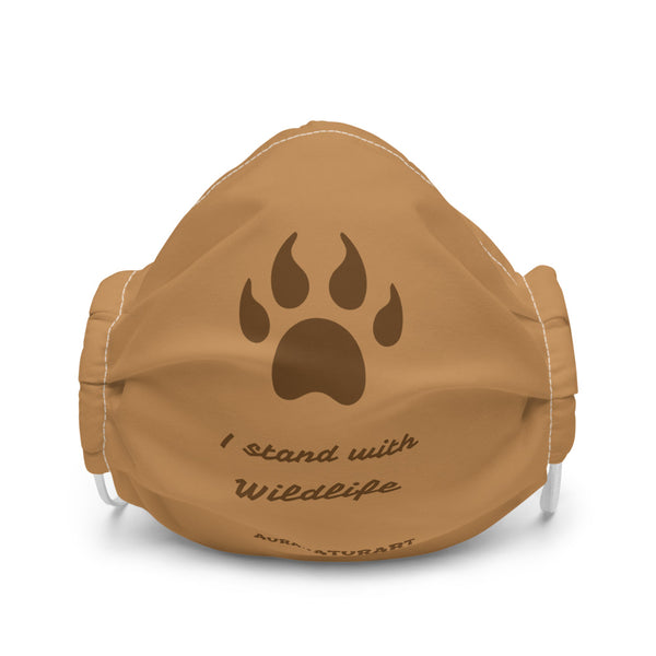 I stand with Wildlife  ~ Brown Face mask