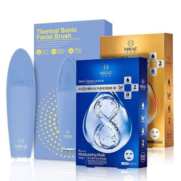 【พร้อมส่ง】Thermal Sonic Facial Brush+EX 8 Minutes Plus Mask ( Moisturizing+Brightening)