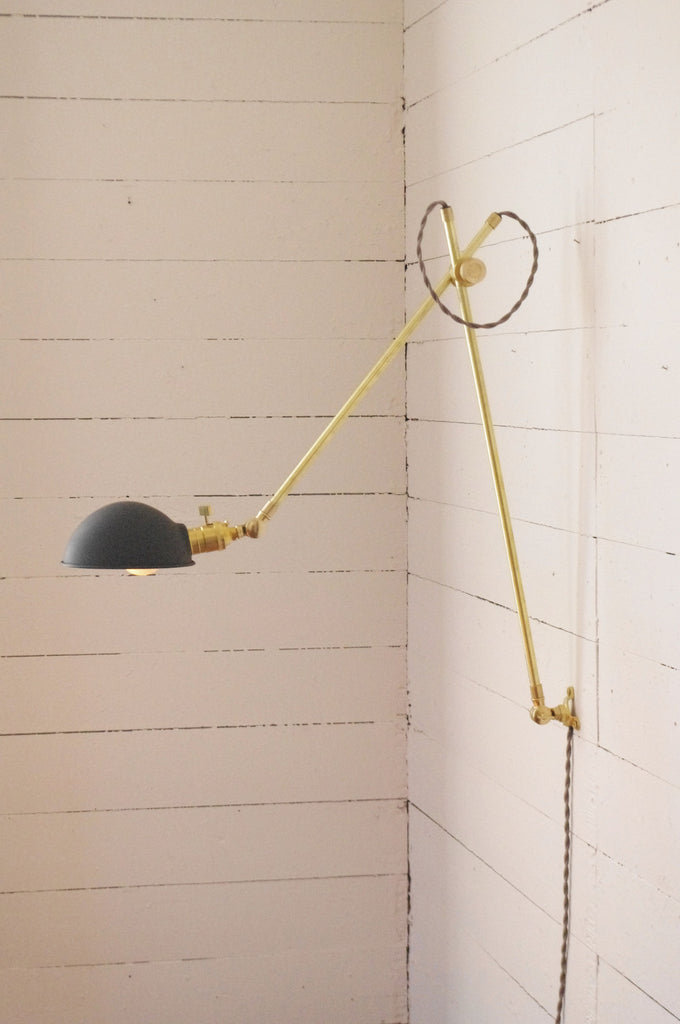 Industrial Brass Lamp with Parabolic Shade