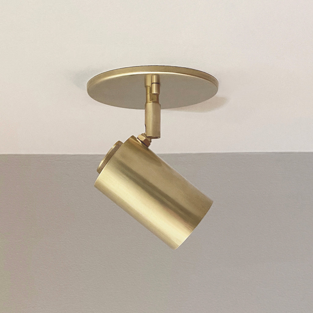 Cylinder Adjustable Spot - Side Mount - Natural Brass