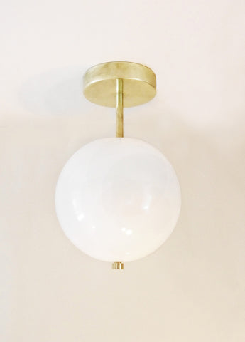 Minimal Brass Ceiling or Wall Globe
