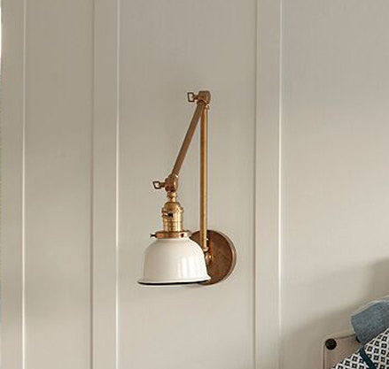 Articulating Brass Lamp with Porcelain Enamel Shade