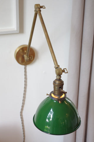 Articulating Brass Lamp with Gas Station Shade