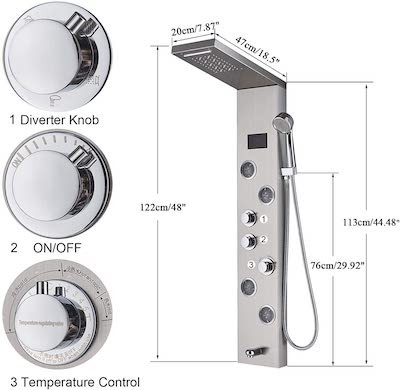 shower panel control