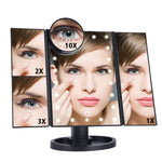 tri fold magnifying makeup vanity mirror with led lights