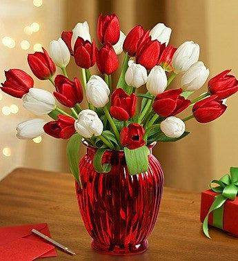 30 Stems with Red Vase
