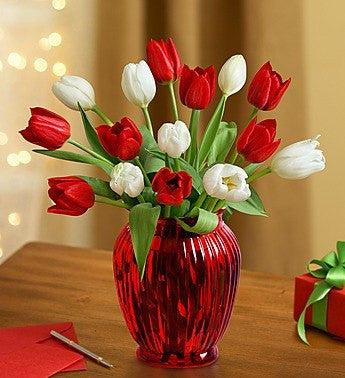 15 Stems with Red Vase