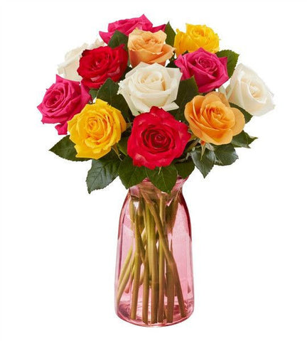 12-Stem Rainbow Rose Bouquet.