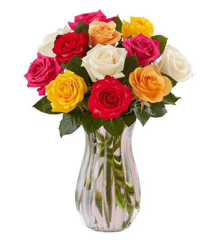 12 Assorted Roses w/ Free Vase and Free Shipping - $34 All-In Price.