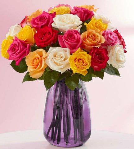 Rainbow Roses, 24 Stems