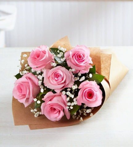 Pink Roses 6 Stems.
