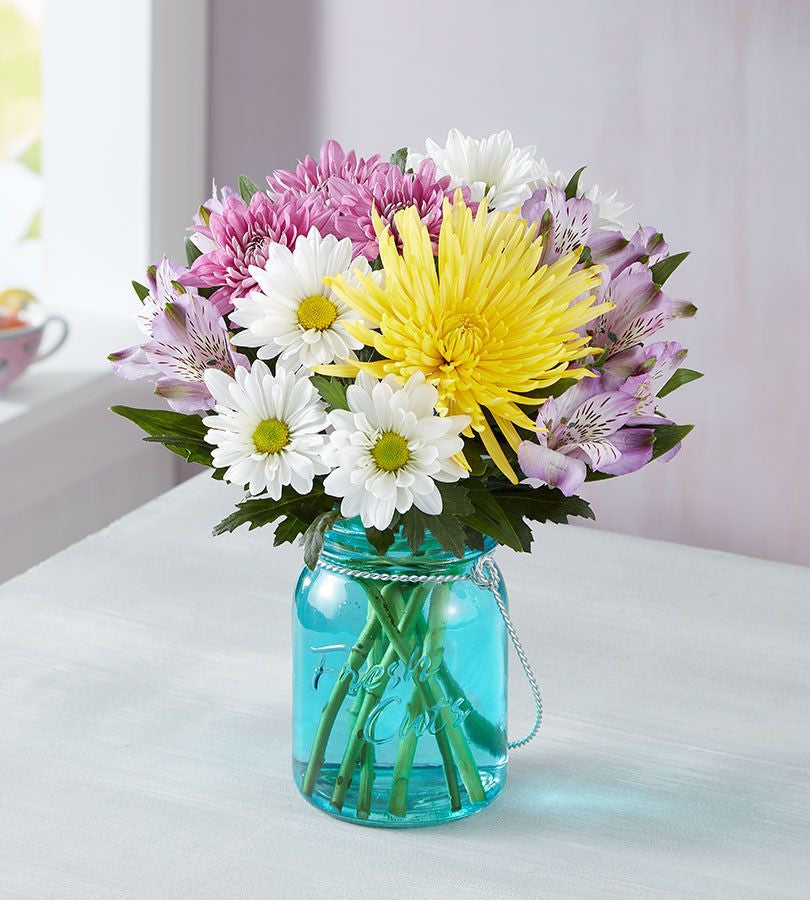 Mother's Day Springtime Flower Bouquet with Blue Mason Jar