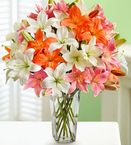 Double Bouquet with Clear Vase