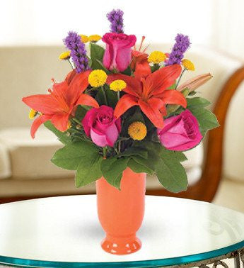 Orange Lily and Hot Pink Rose Bouquet