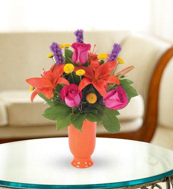 Orange Lily and Hot Pink Rose Bouquet - Florists.com  - 2