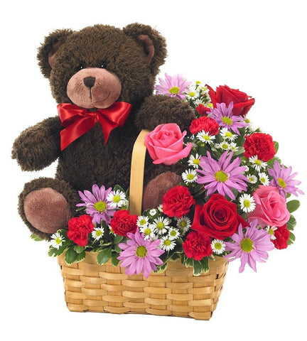Bear & Flower Basket Delight