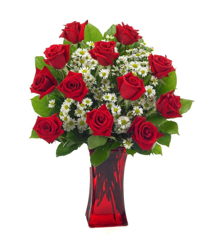 romantic red rose bouquet floristscom - Red Garden Rose Bouquet
