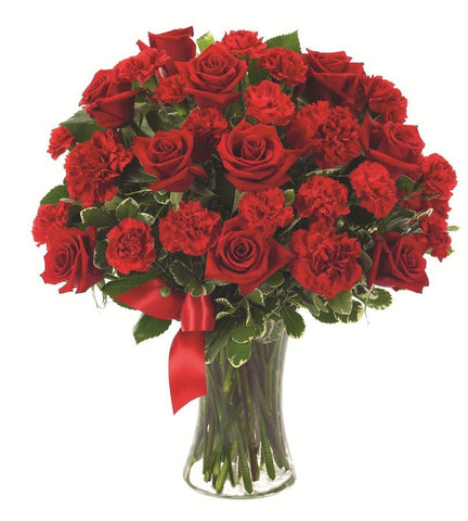 Red Roses and Carnations Bouquet.