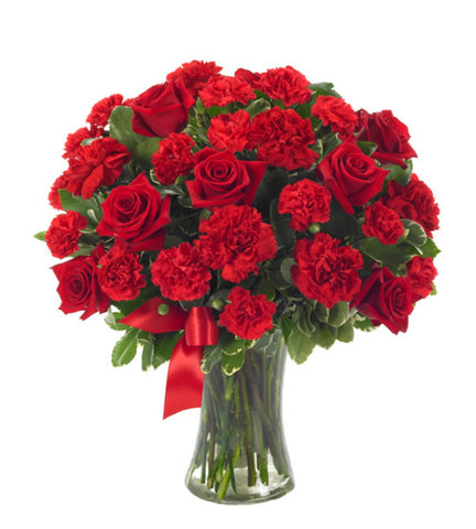Red Roses and Carnations Bouquet