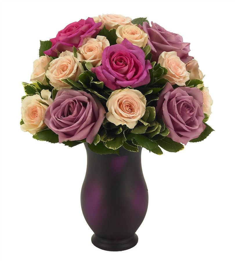 Pink Peach And Purple Roses Bouquet Dark Purple Vase Florists