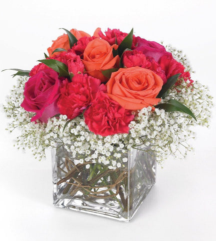 Pink and Orange Roses Bouquet