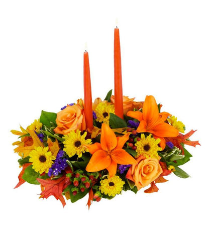 Fall Centerpiece with Orange Candles.