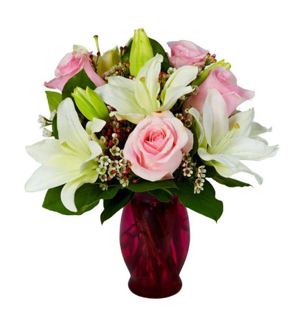 Powder Lily and Pink Rose Bouquet.
