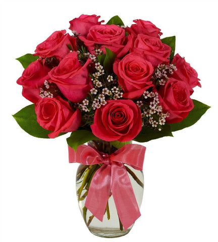 Pink Rose Bouquet - Vase Included