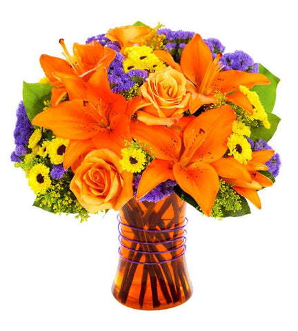 Fall Rose and Lily Bouquet.