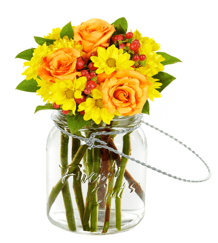 Orange Roses and Yellow Daisy Delight.
