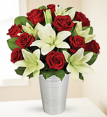 Asiatic Lilies and Red Roses.