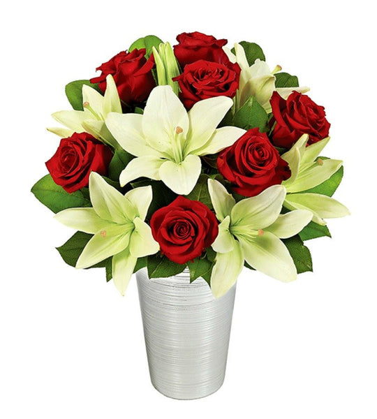 Asiatic Lilies and Red Roses - Florists.com  - 2