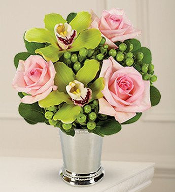 Green Orchid and Pink Rose Bouquet of Smiles