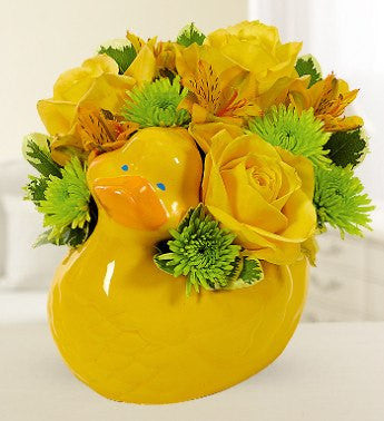Yellow Rose Duck Basket